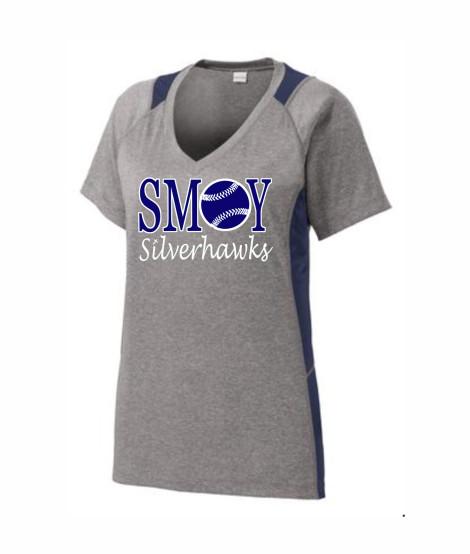 SMOY Ladies Baseball O Athletic Grey Tee