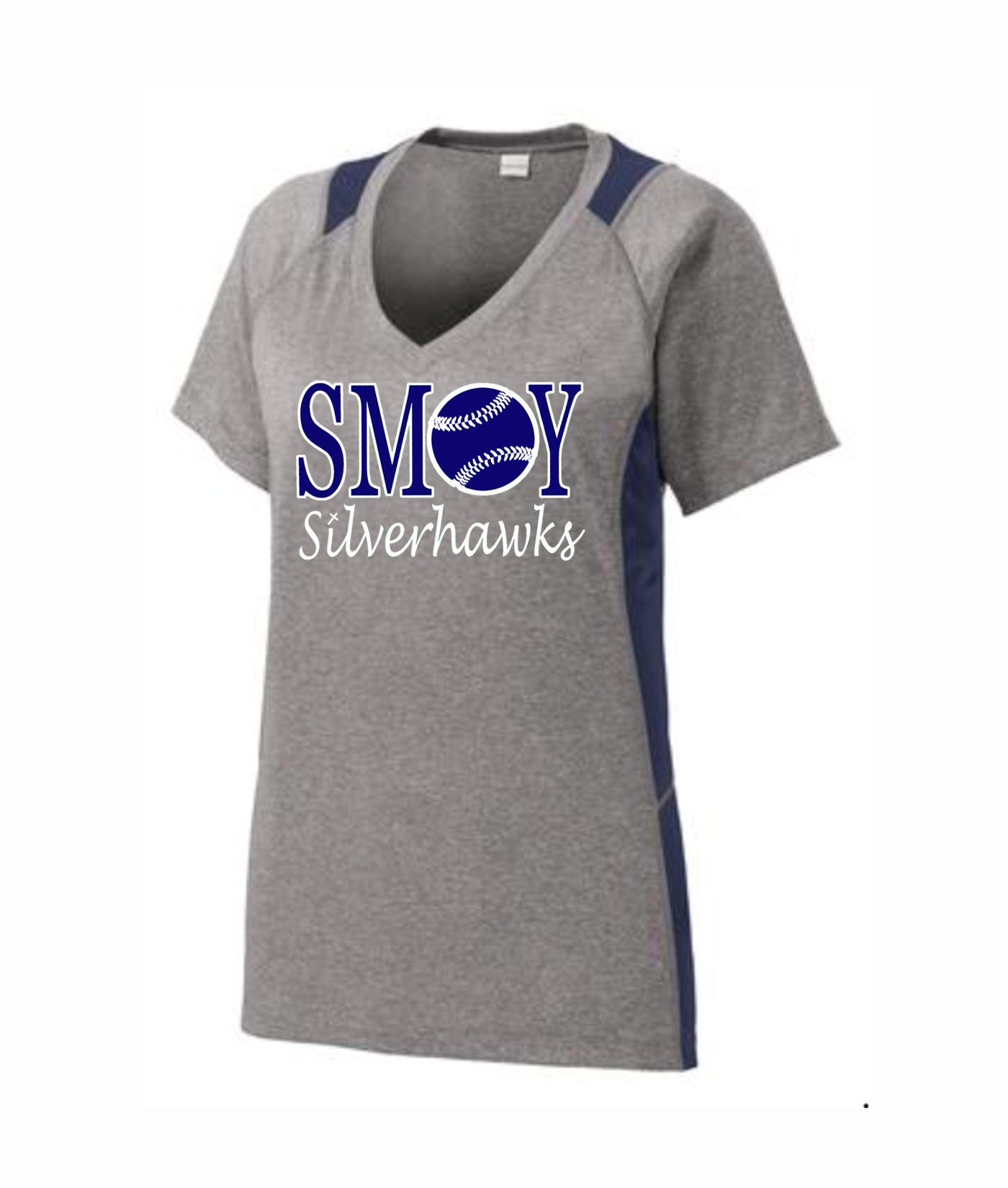 SMOY Ladies Baseball O Athletic Grey Tee