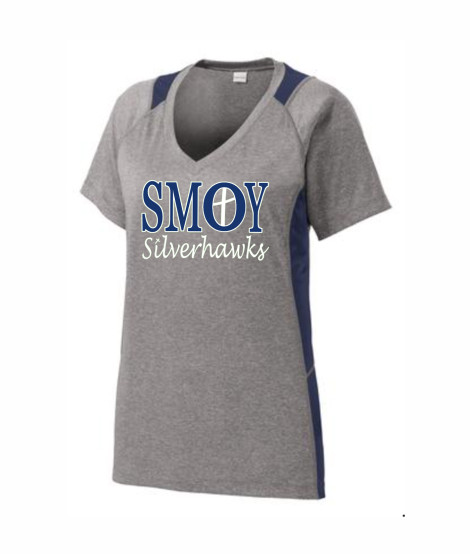 SMOY Ladies Cross O Athletic Grey Tee