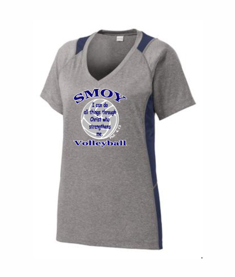 SMOY Ladies Large Bible Verse Volleyball Athletic Grey Tee