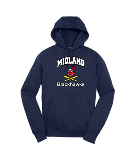 Sport-Tek Navy Pullover Hooded Sweatshirt Curved Blackhawk Color with White Letters