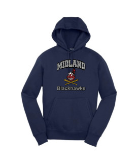 Sport-Tek Navy Pullover Hooded Sweatshirt Curved Blackhawk Silver Glitter Words