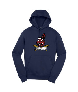 Sport-Tek Navy Pullover Hooded Sweatshirt Giant Blackhawk Glitter with white words