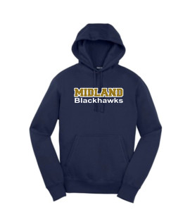 Sport-Tek Navy Pullover Hooded Sweatshirt Midland Blackhawk Gold Glitter with White Outline