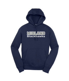 Sport-Tek Navy Pullover Hooded Sweatshirt Midland Blackhawk Silver Glitter with White Outline