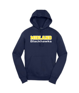 Sport-Tek Navy Pullover Hooded Sweatshirt Midland Blackhawk White Outline Gold Inside