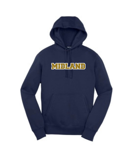 Sport-Tek Navy Pullover Hooded Sweatshirt Midland Glitter Gold with White Outline