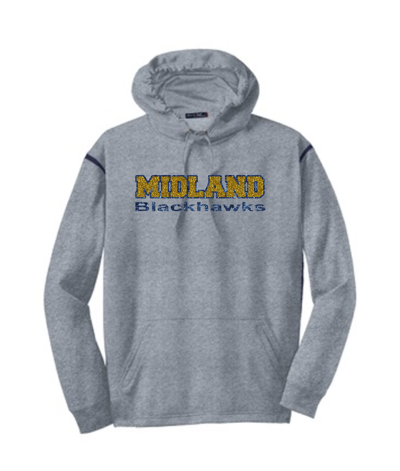 Sport-Tek Grey Tech Fleece Colorblock Hooded Sweatshirt Glitter Midland Blackhawks Navy Out Gold In