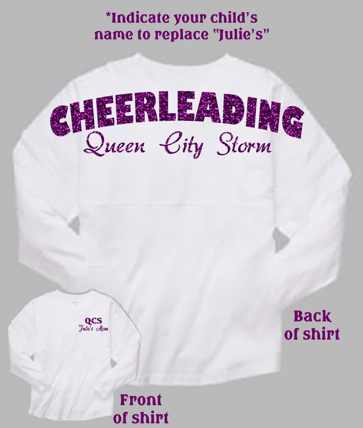 Queen City Cheer with Child's Name Mom White Pom Pom Jersey with Purple Glitter
