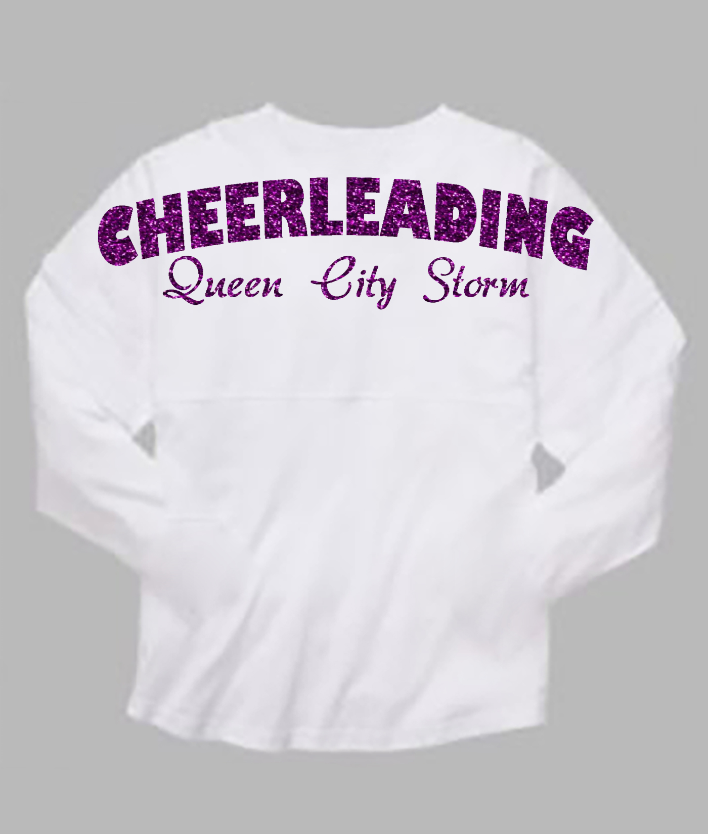 Cheerleading Queen City Storm White Pom Pom Jersey with Purple Glitter