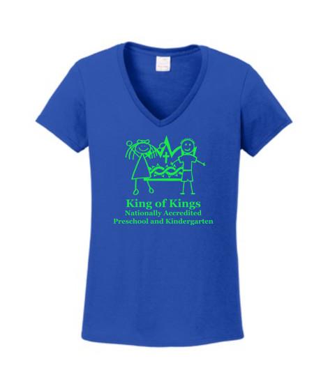 KOK Royal Ladies VNeck Short Sleeve Tshirt Green Logo