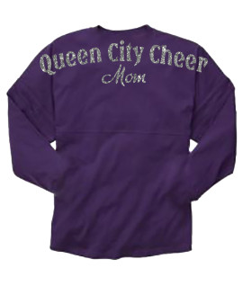 Queen City Cheer Mom Purple Pom Pom Jersey with Silver Glitter