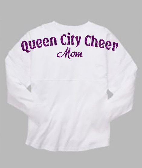 Queen City Cheer Mom White Pom Pom Jersey with Purple Glitter