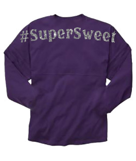 Super Sweet Purple Pom Pom Jersey with Silver Glitter