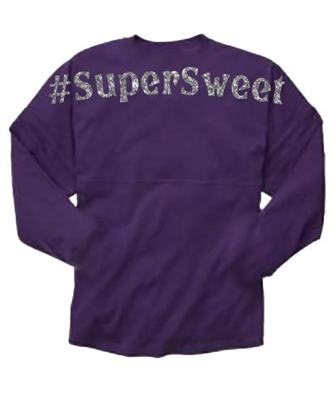 Super Sweet Purple Pom Pom Jersey with Silver Glitter