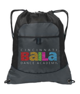 Black Cinch Bag with Multi Color Glitter Logo