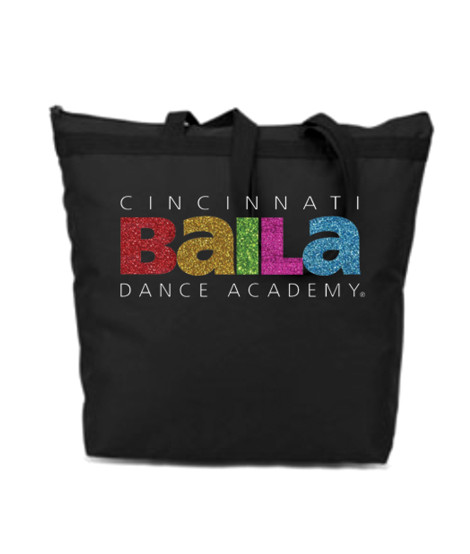 Black Zipper Bag with Multi Color Glitter Logo