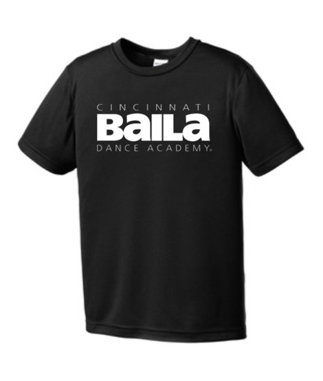 Black Performance T-shirt with White Logo