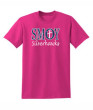 Glitter Adult Pink T-shirt SMOY Cross White Outline Navy Glitter Inside