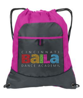 Hot Pink Cinch Bag with Multi Color Glitter Logo
