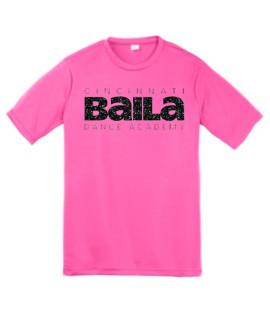Hot Pink Performance T-shirt with Black Glitter Logo