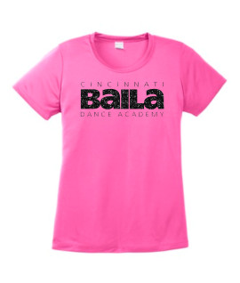 Ladies Hot Pink Performance T-shirt with Black Glitter Logo