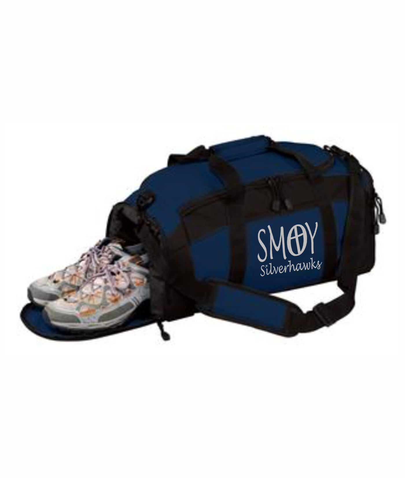 Duffle with Waterproof Shoe Pocket SMOY Cross Silver