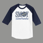 3/4 Sleeve Navy White T-shirt SMOY Baseball Glitter