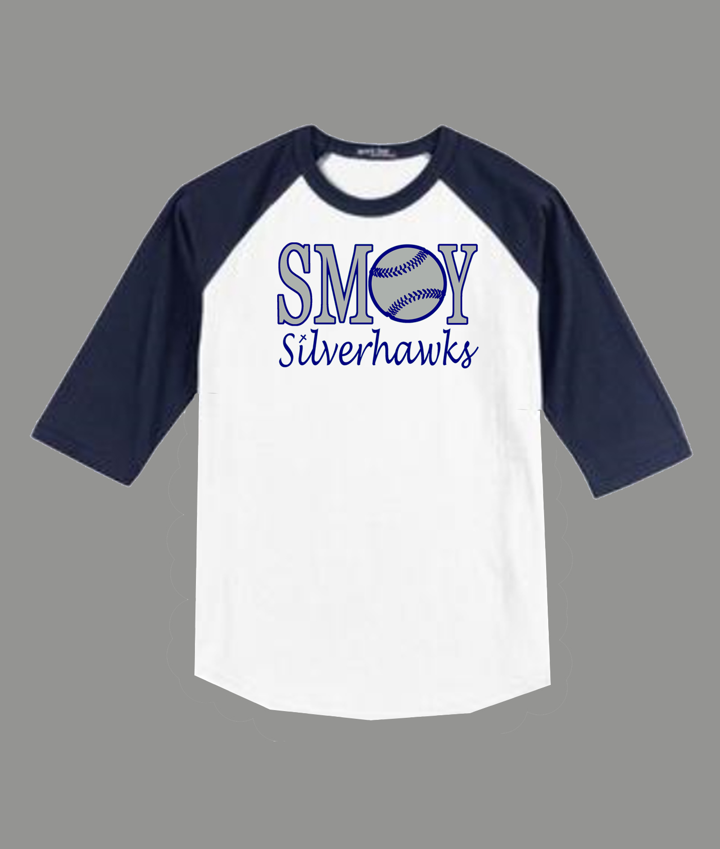 3/4 Sleeve Navy White T-shirt SMOY Baseball