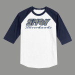 3/4 Sleeve Navy White T-shirt SMOY Basketball Cross Inside Glitter
