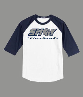 3/4 Sleeve Navy White T-shirt SMOY Basketball Cross Inside