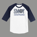 3/4 Sleeve Navy White T-shirt SMOY Basketball Glitter