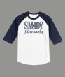 3/4 Sleeve Navy White T-shirt SMOY Basketball Glitter