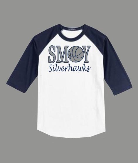3/4 Sleeve Navy White T-shirt SMOY Basketball