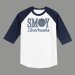 3/4 Sleeve Navy White T-shirt SMOY Cheer Inside Glitter