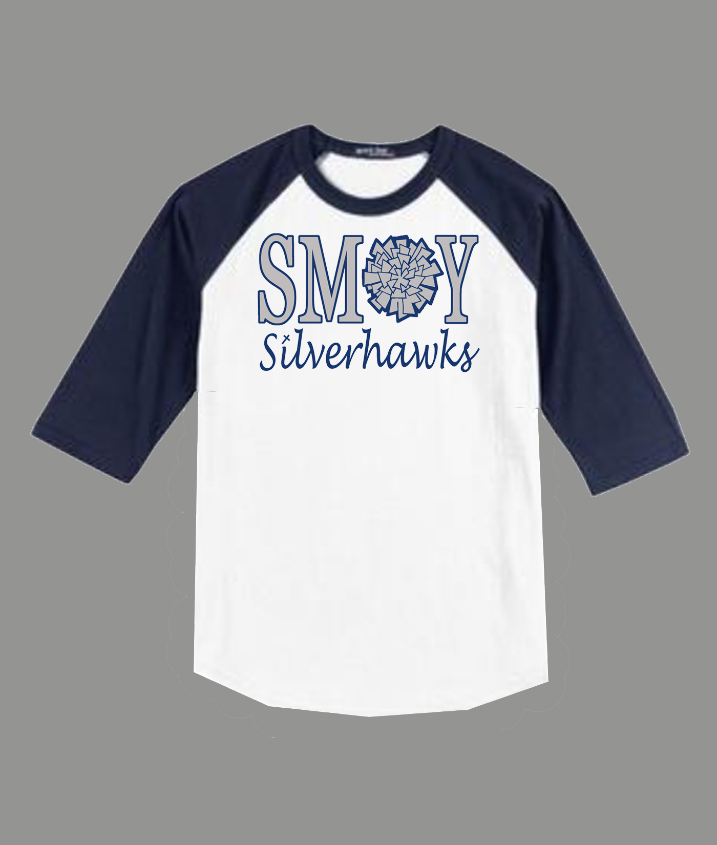 3/4 Sleeve Navy White T-shirt SMOY Cheer