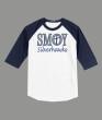 3/4 Sleeve Navy White T-shirt SMOY Cross Inside Glitter