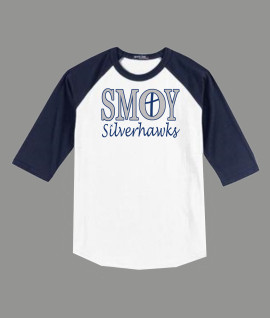 3/4 Sleeve Navy White T-shirt SMOY Cross