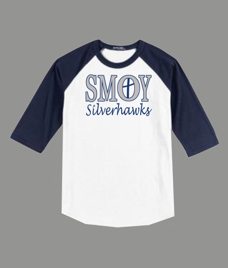 3/4 Sleeve Navy White T-shirt SMOY Cross