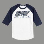 3/4 Sleeve Navy White T-shirt SMOY Football Cross Inside Glitter