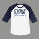 3/4 Sleeve Navy White T-shirt SMOY Football Glitter