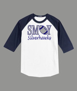 3/4 Sleeve Navy White T-shirt SMOY Football