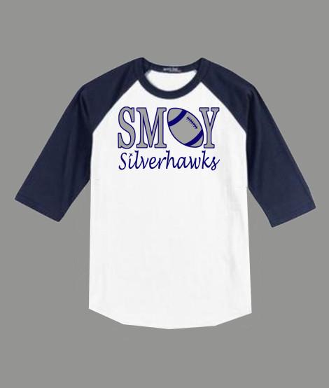 3/4 Sleeve Navy White T-shirt SMOY Football