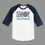 3/4 Sleeve Navy White T-shirt SMOY Volleyball Glitter
