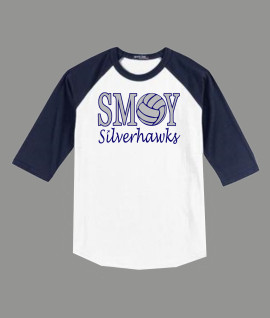 3/4 Sleeve Navy White T-shirt SMOY Volleyball