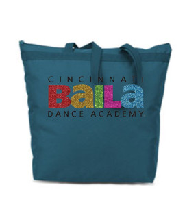 Turquoise Zipper Bag with Multi Color Glitter Logo
