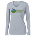 Fort Wayne Farmers Market Performance Grey Long Sleeve Tee GLITTER Ladies