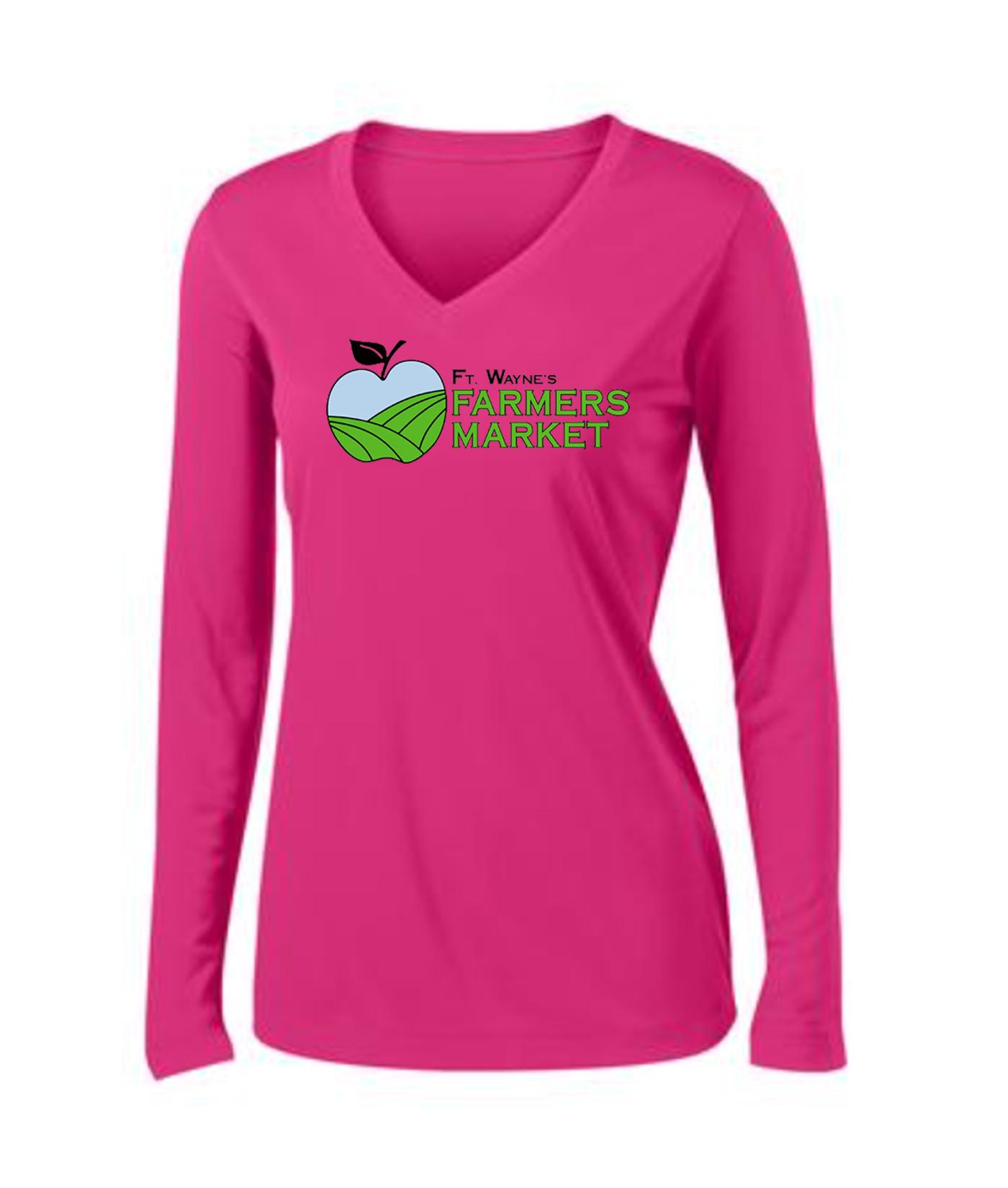 Fort Wayne Farmers Market Performance Pink Long Sleeve Tee Ladies