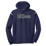 ST Navy Stripe White Hoodie_ Paw Gold Out Navy In GLITTER