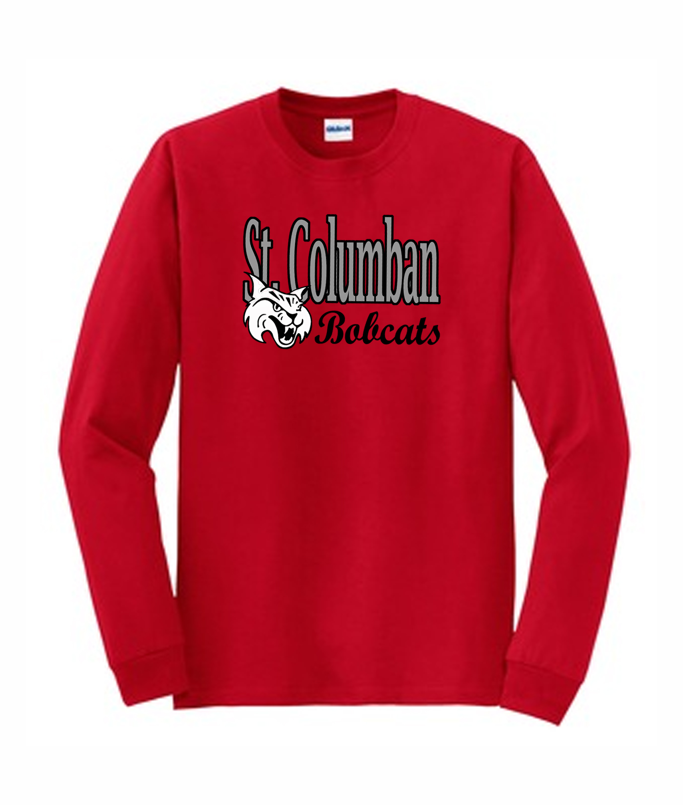 Red Gildan Long Sleeve T-Shirt Bobcat_Bobcats